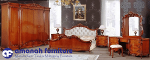 Set Tempat Tidur Mewah Ukir Jati Royal Kerang