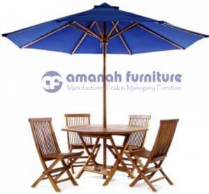 Meja Payung Taman Kayu Jati Segi 8