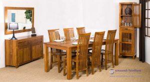 Set Meja Makan Jati Jepara Balero Lengkung