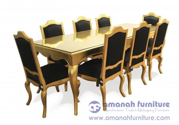 jual meja makan warna emas,meja makan cat duco emas,meja makan jepara