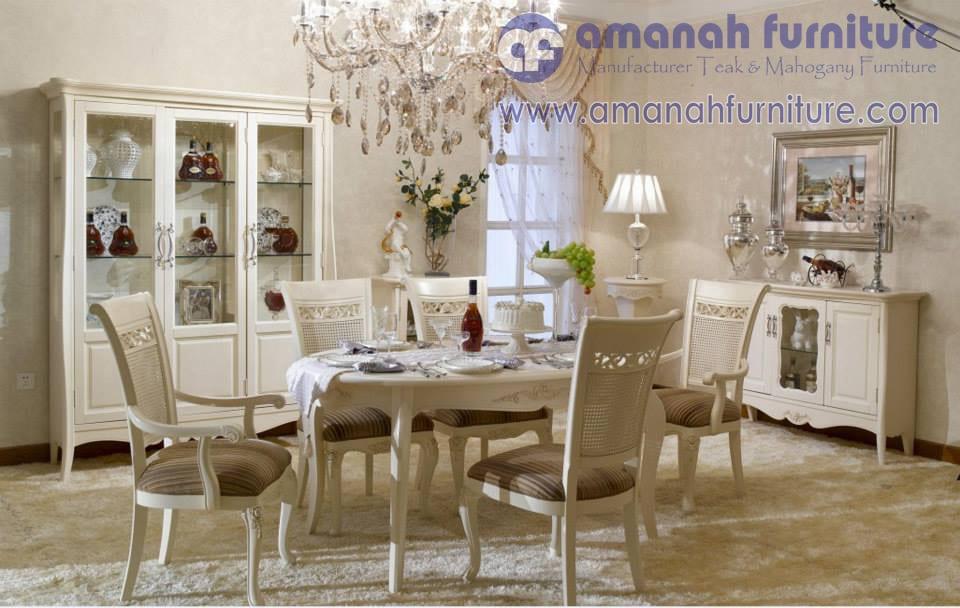 Meja Makan Mewah Duco Putih