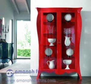 Lemari Hias Mewah Red Veloza Klasik