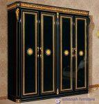 Lemari Pakaian Mewah Klasik 4 Pintu Black Safir