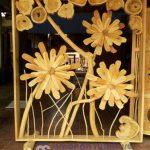 Penyekat Ruangan Jati Unik Model Bunga