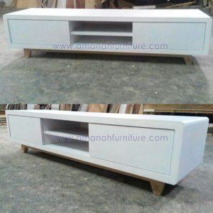 Meja TV Minimalis Retro Warna Putih Duco