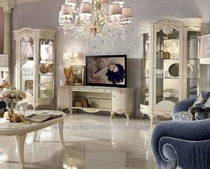Rak TV Klasik Mewah Duco Merpati Putih