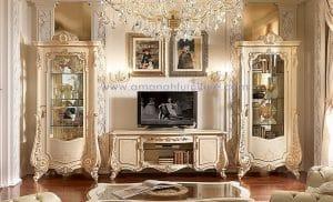 Bufet TV Klasik Spanyol Warna Putih – Rak TV Mewah