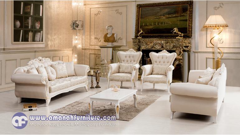 gambar set sofa mewah putih