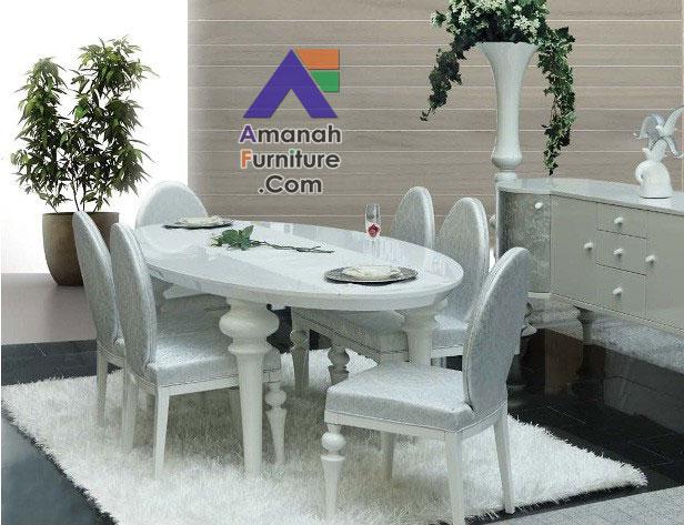 meja makan mewah duco putih oval