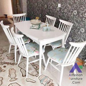 Meja Makan Minimalis Kipas Warna Putih Duco